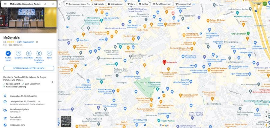 Ein Beispiel für ein Google Business-Profil, das von Google Maps aufgerufen wird