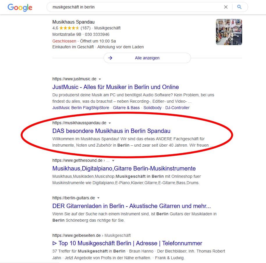 Das normale organische Suchergebnis von Google